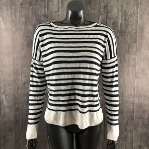 Cynthia Rowley Navy Striped Linen Knit Top